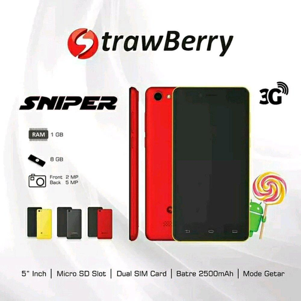 Strawberry SNIPER / ANDROID / 5 inch - RAM 1GB/Internal 8GB - dual sim - Radio FM / Hp unik / hp murah / android murah