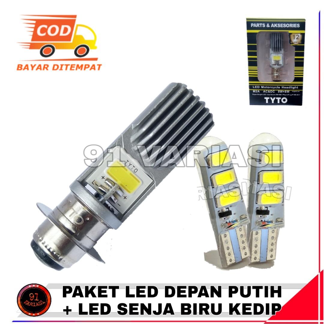 [ PAKET ] Lampu Depan Led Motor Matic Beat MIo 2 SISI  WARNA PUTIH + Lampu LED Senja Jelly Warna Biru Kedip - 91 VARIASI