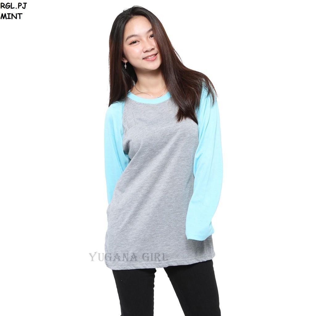 YUGANA - Baju Atasan Kaos T-Shirt Raglan Jumbo Lengan Panjang Murah Wanita/Cewek Kekinian RGL.PJ