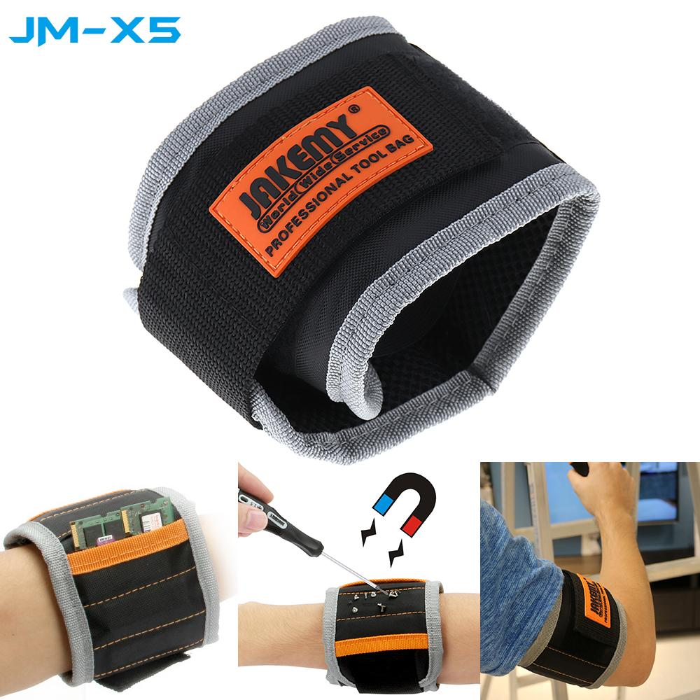 Big House JM-X5 Magnetic Wristband Wrist Handy Band Tool Belt Cuff Bracelet Nail Screw Set(Black+Orange)