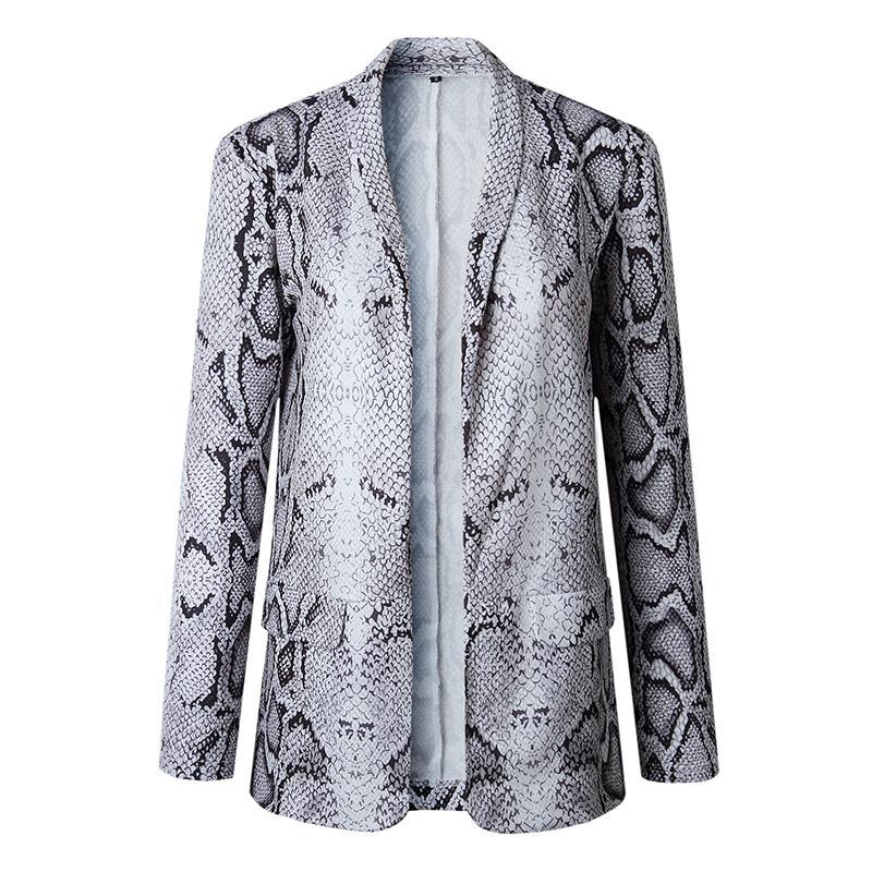 Blazer Women Office Lady Casual Vintage Long Sleeve Pocket Leopard Blazers 1e4ee54e547b