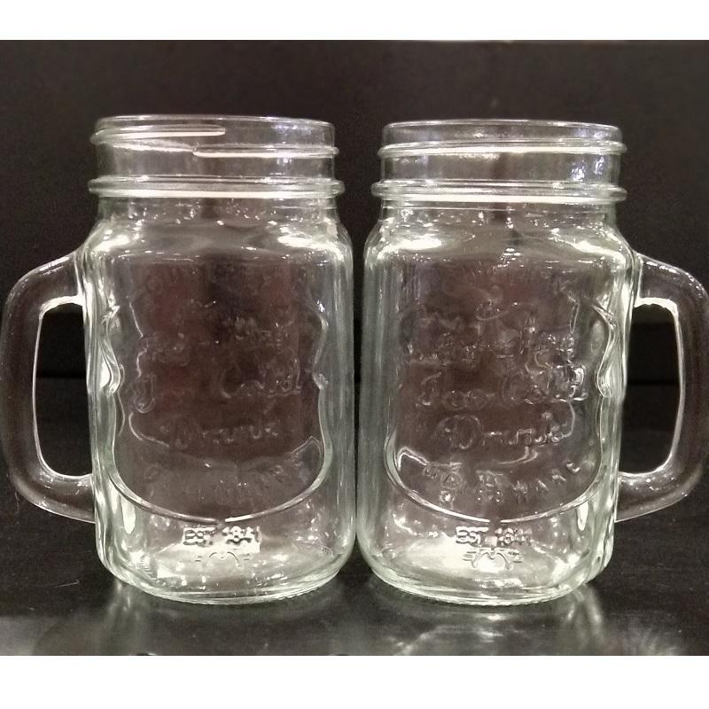 Paket 2 Pcs Mug Drinking Jar Gelas Cafe Bening 475 Ml By Home Shopping Online.