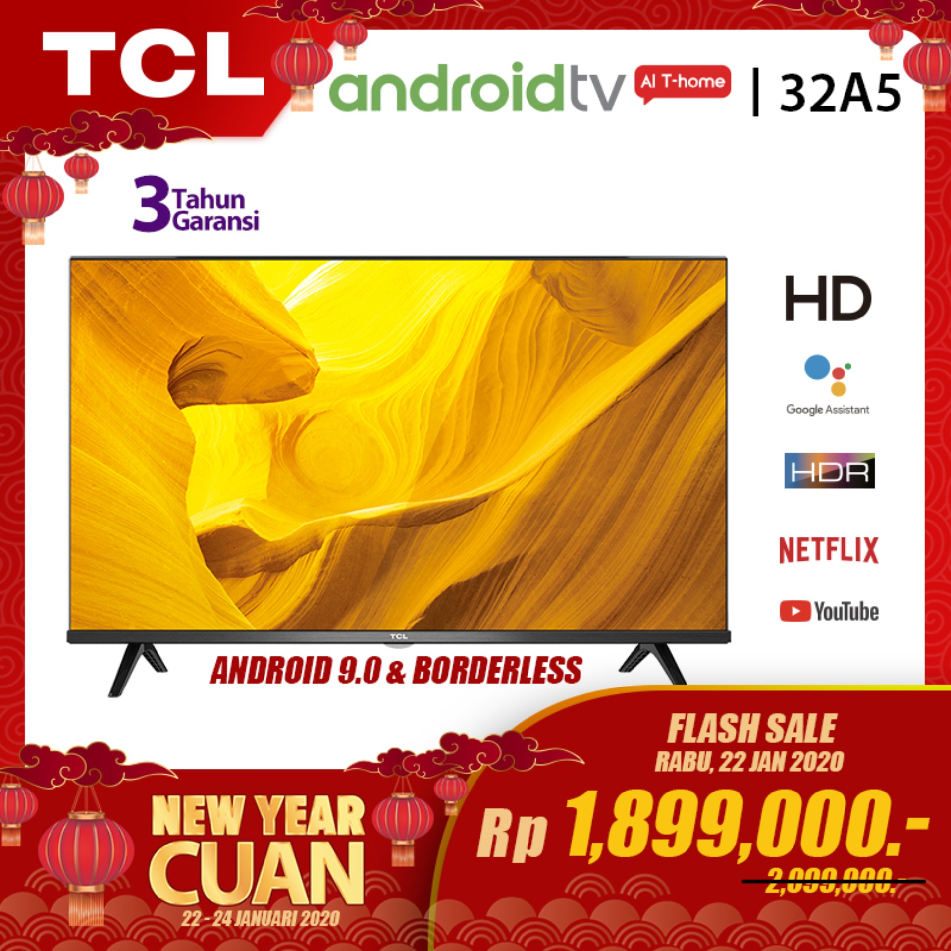 [LAZADA EXCLUSIVE] TCL NEW LED TV 32 inch - Smart Android TV - BORDERLESS - HD - WiFi - Google Voice - HDMI//USB - AI - Dolby Sound (model 32A5)