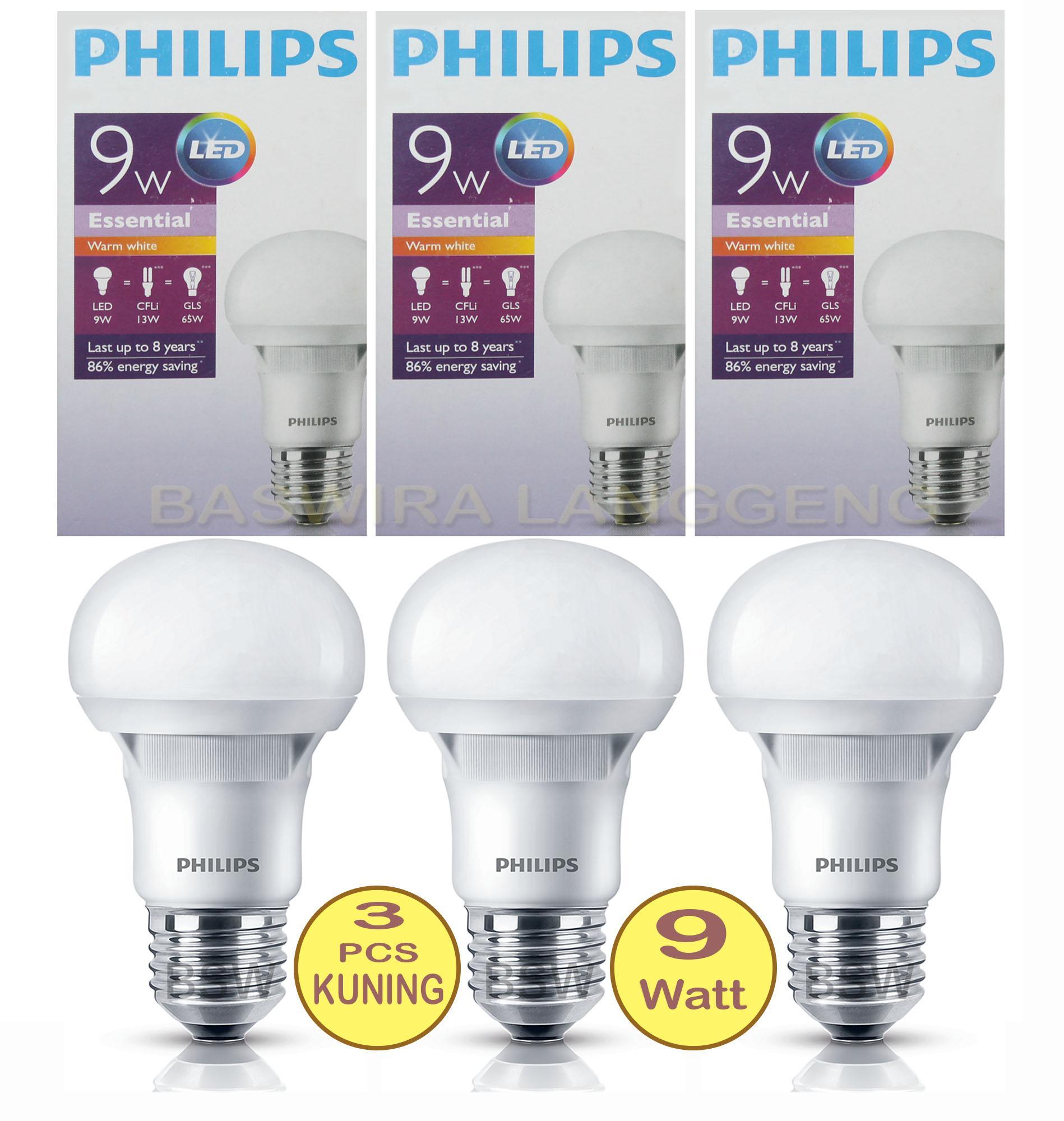 PHILIPS Lampu Led Bulb ESSENTIAL 9W 9Watt 9 W 9 Wat (PAKET 3 PCS)