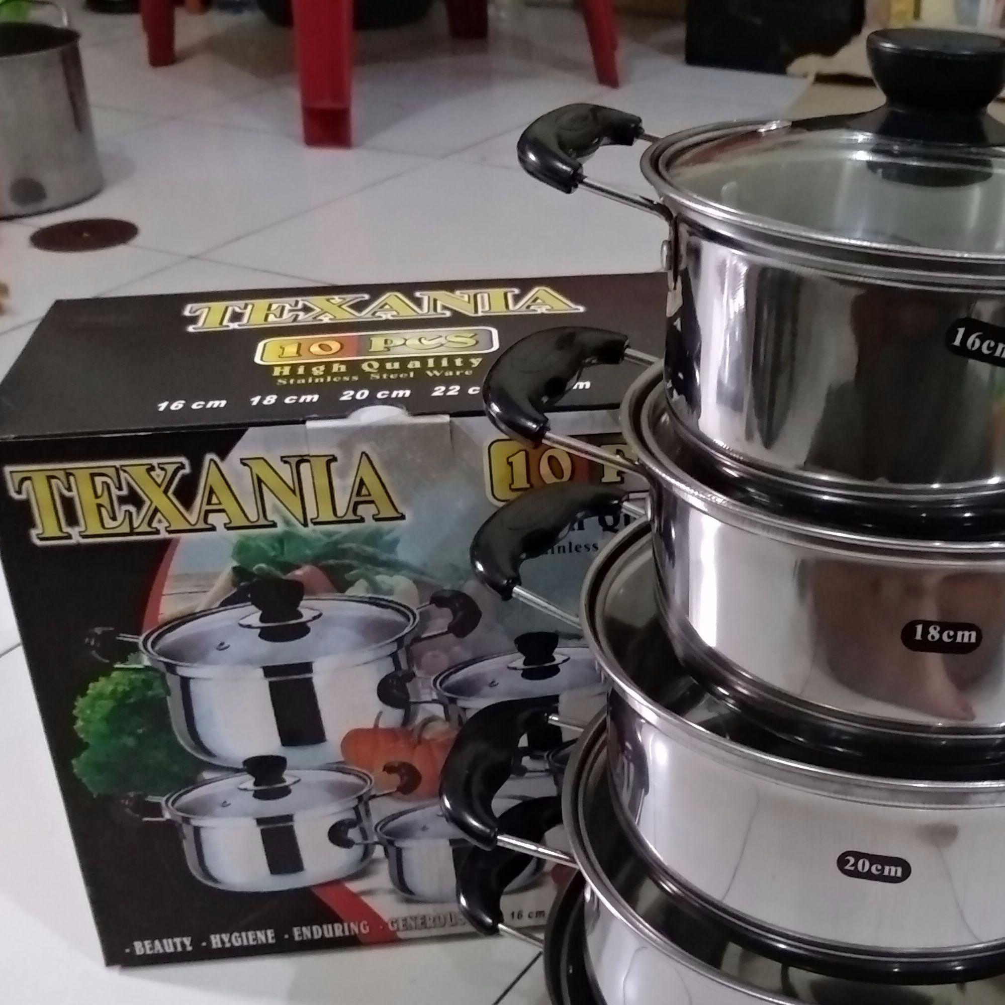 Peralatan Masak Wajan Kuali Penggorengan Stainless 40 cm -Cocok untuk nasi goreng-. Panci OKSUKA (5 SET)