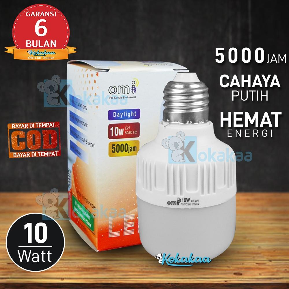OMI Lampu Bohlam Led 10 Watt Garansi 6 Bulan Hemat Energi 80% Cahaya Lampu Putih (Umur 5000 Jam) BISA COD - Putih