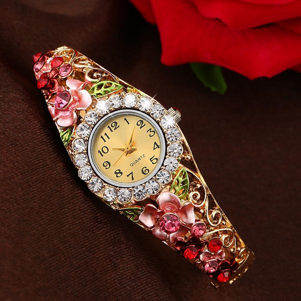 Jual Hot Fashion Berlapis Emas Diamond Bunga Renda Bersinar Jam Tangan NO.5
