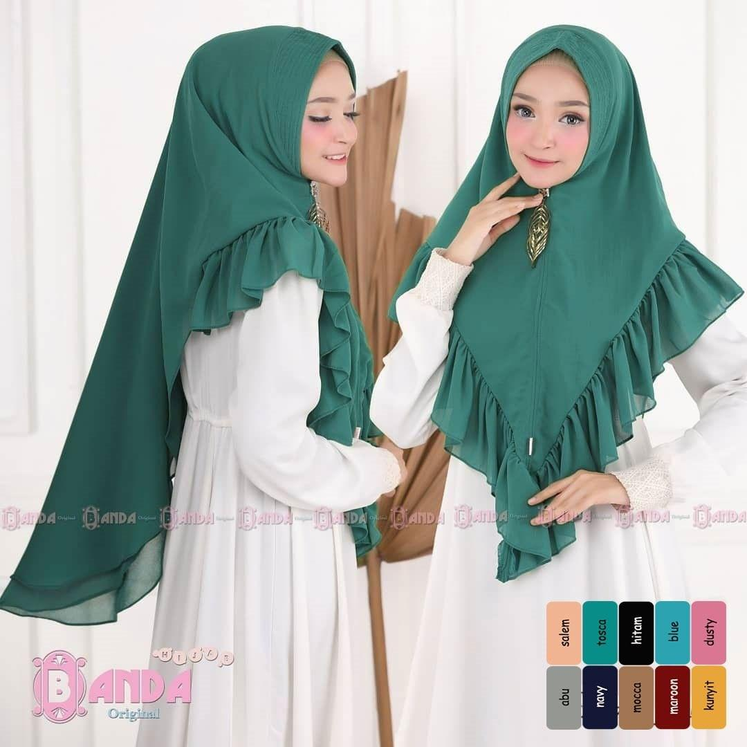 Khimar Banda Senja All Series Hijau Bottle Jilbab Motif / Khimar Layer / Jilbab Instan Murah / Hijab Indonesia