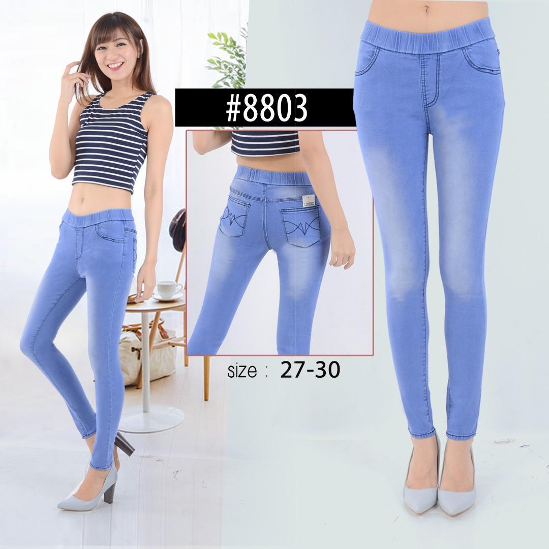 Celana Legging Pinggang Karet Jeans Jumbo Wanita Size 31 38 Navy Lazada Indonesia