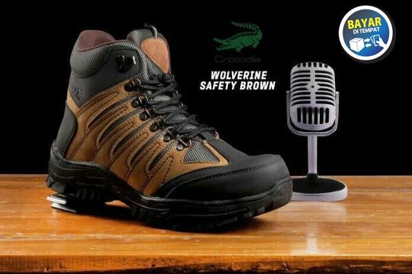 Sepatu boot pria Safety Crocodile Wolverin safety Navy,black dan safety tan