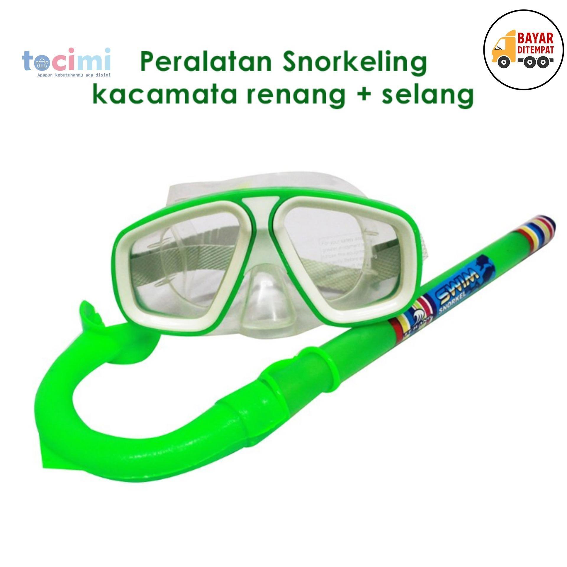 Tocimi - Alat Snorkling Peralatan Snorkeling - Kacamata Renang + Selang Anak ( Alat Selam, Set Snorkeling, Snorkel ) - Warna Random By Tocimi.