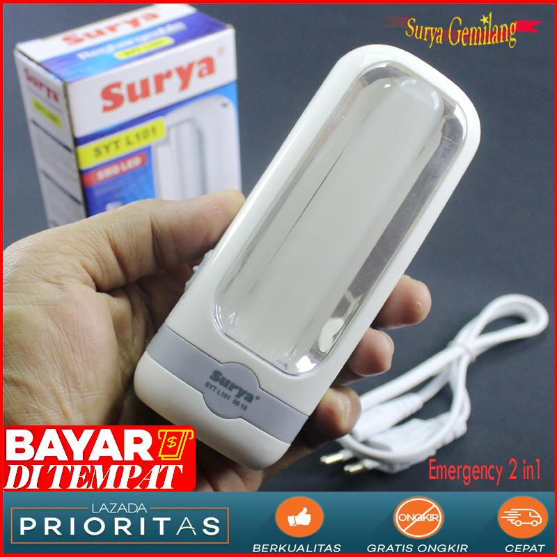 Surya Lampu Emergency SYT L101 Light LED 10 SMD + Senter Super LED 1W Rechargeable Emergency