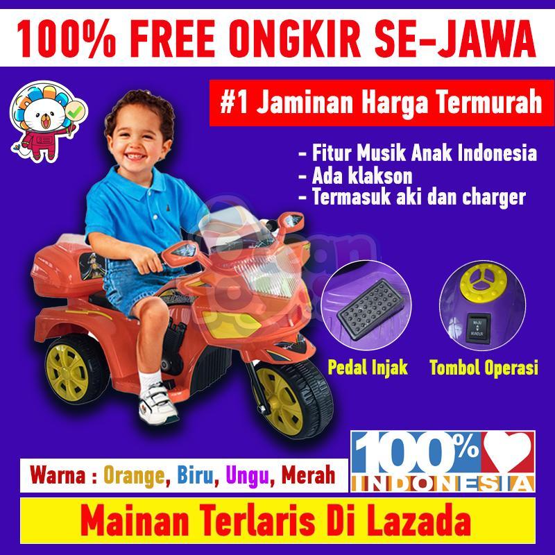 Mainan Motor Aki Anak 100% Free Ongkir Khusus Pulau Jawa Ada Musik Klakson Charger Lengkap Aki Ride On Halilintar By Ocean Toy.