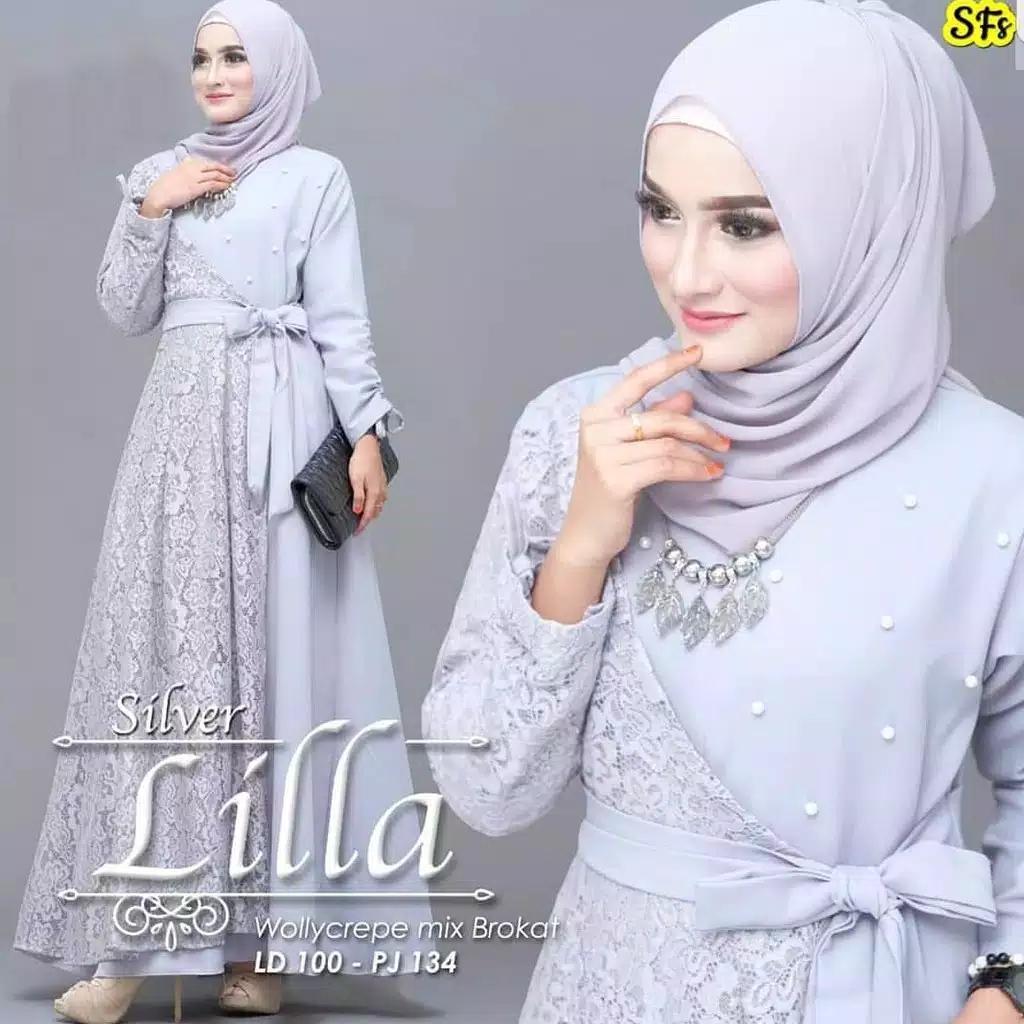 Baju Jestore LILLA DRESS Wollycrepe Mix Brukat Baju Gamis Brokat Model  Terbaru Terusan Wanita Paling Laris Baju Muslim Lengan Panjang Model Trendy