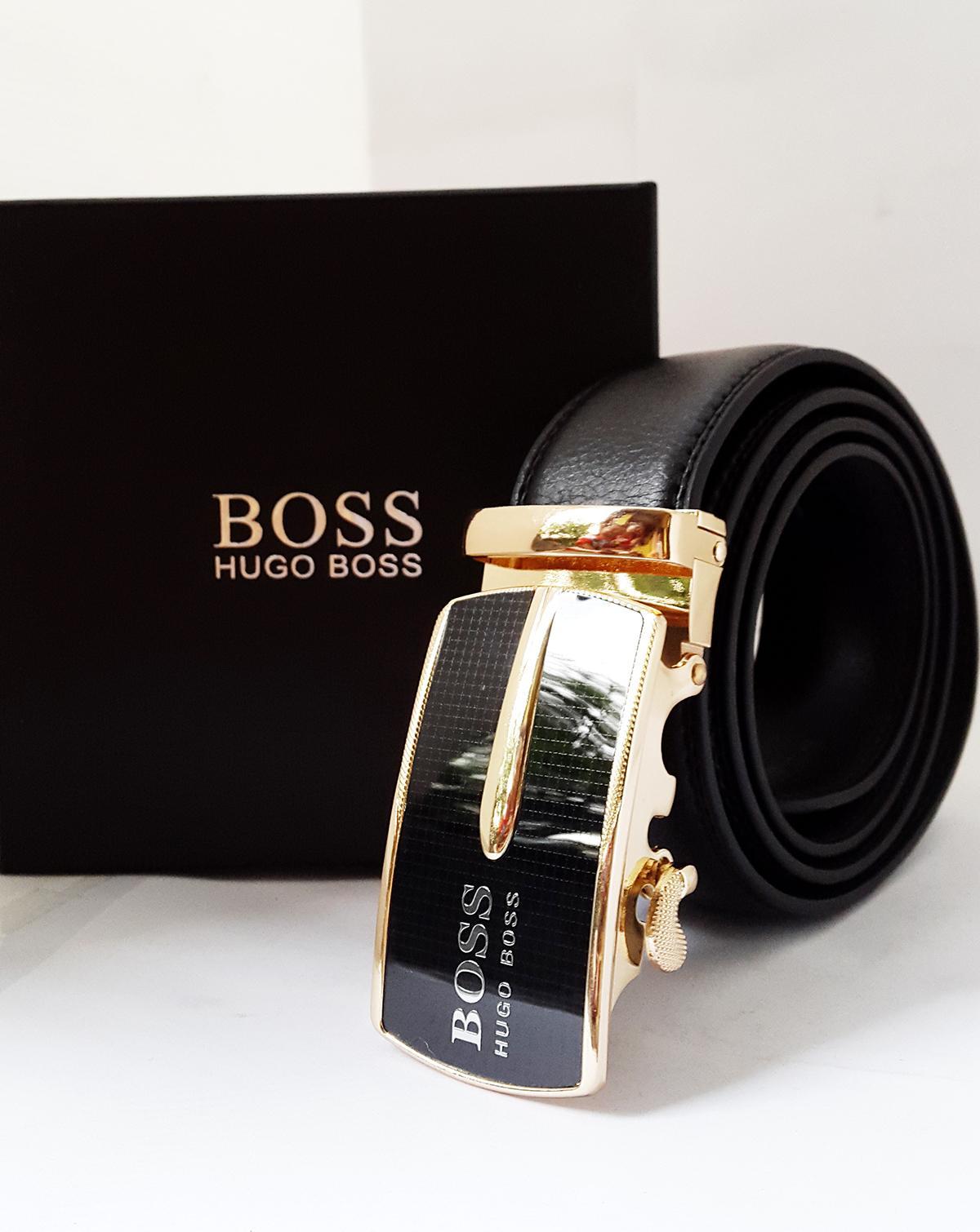 Gesper Pria / Ikat Pinggang / Ban Pinggang / Sabuk Pria Branded Hugo Boss Gold Exclusive 120cm - Black