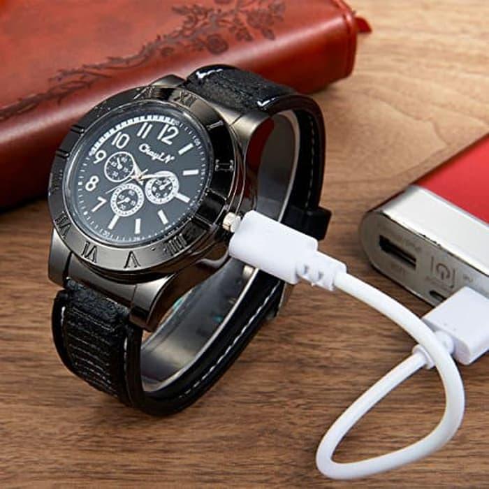 Onnistuu Watch - Jam Tangan analog Pria Korek Elektrik USB Lighter Watch Jam Tangan Analog