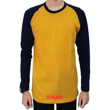 Kaos Raglan Lengan Panjang Warna Keren Yellow Navy Yellow Hitam