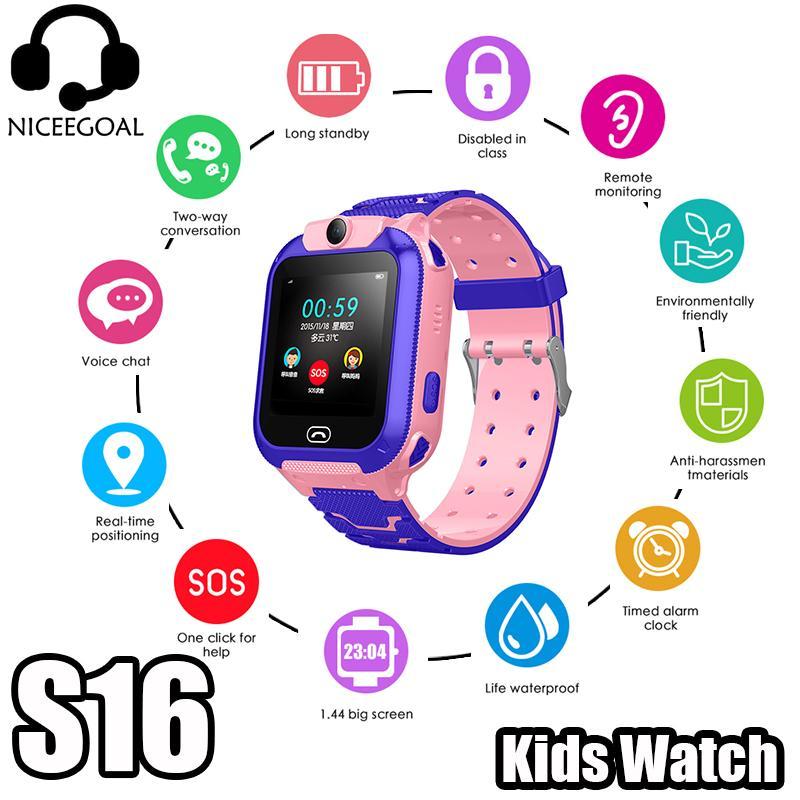 Niceegoal S16 Anak Android Smartwatch 2G SIM Menyisipkan Tahan Air Posisi LSB Pertolongan SOS Foto Kamera