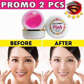 SUPERMAN ID - [PROMO 2 PCS] Jelly Glowing Pink Cream Mencerahkan Memutihkan Wajah Cream Pencerah Wajah Penghilang Bekas Jerawat Dan Flex Hitam- 15gr thumbnail