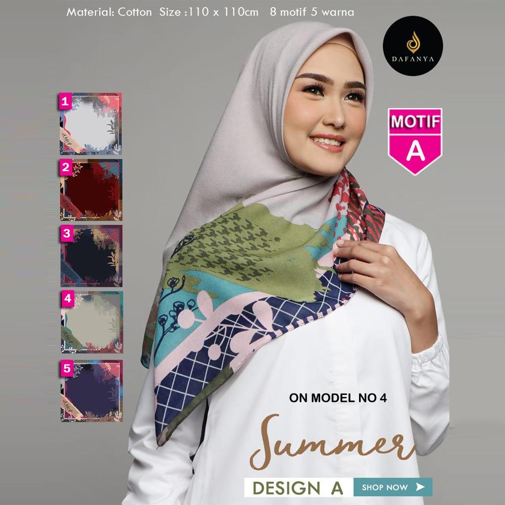 Jilbab Segi Empat SUMMER A By DAFANYA - Hijab kerudung MOTIF