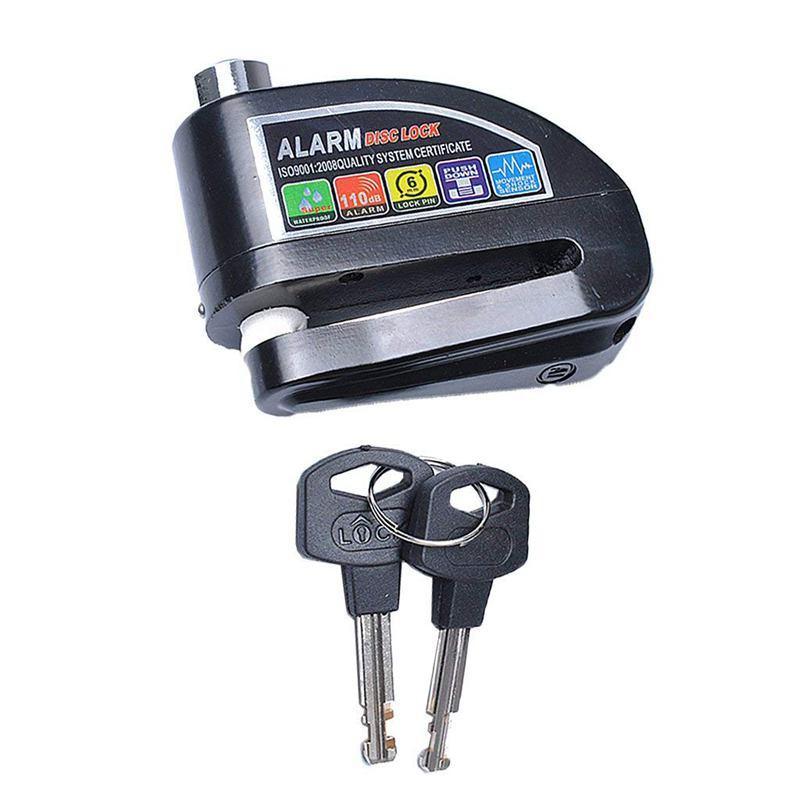 Anti-theft Motorcycle Padlock Bike Wheel Disc Brake Security Alarm Lock - Black