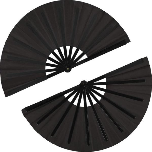 2 Pieces Large Folding Fan Nylon Cloth Handheld Folding Fan Chinese Kung Fu Tai Chi Fan Black Decoration Fold Hand Fan For Party Favors