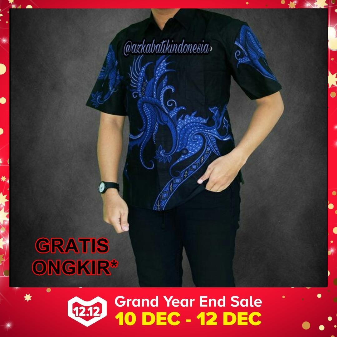 Jual Baju Batik Pria Baju Batik Modern Kemeja Batik Pekalongan Hem Batik Kemeja Motif Kembang Biru