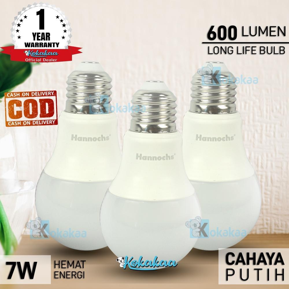 PAKET 3 PCS Lampu Bohlam LED Hannochs ALFA Bulb Cool White 7 Watt SNI Resmi Hemat Energi Cahaya Lampu 600 Lumen GARANSI 6 Bulan (Umur 10.000 Jam) - Putih