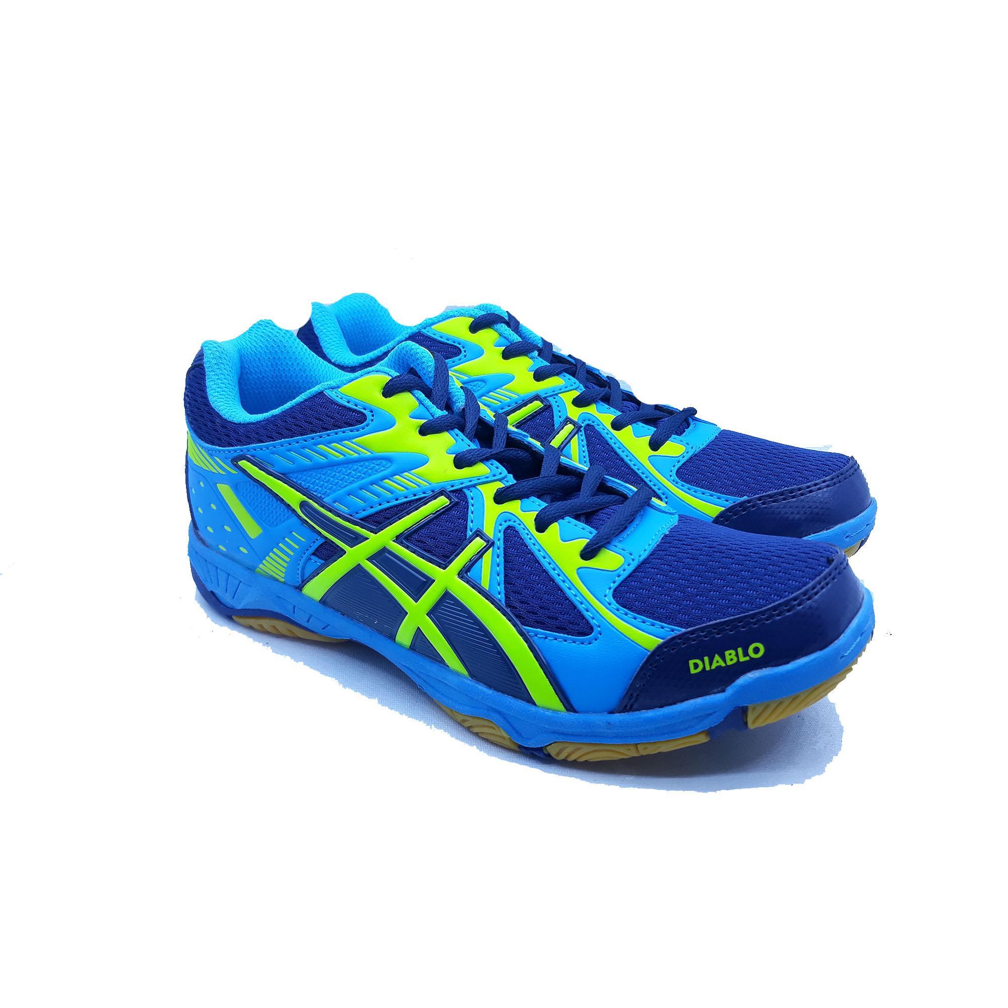 Sepatu Olahraga Badminton Professional Diablo - Navy Turkis Neon Green fd1d27bb57