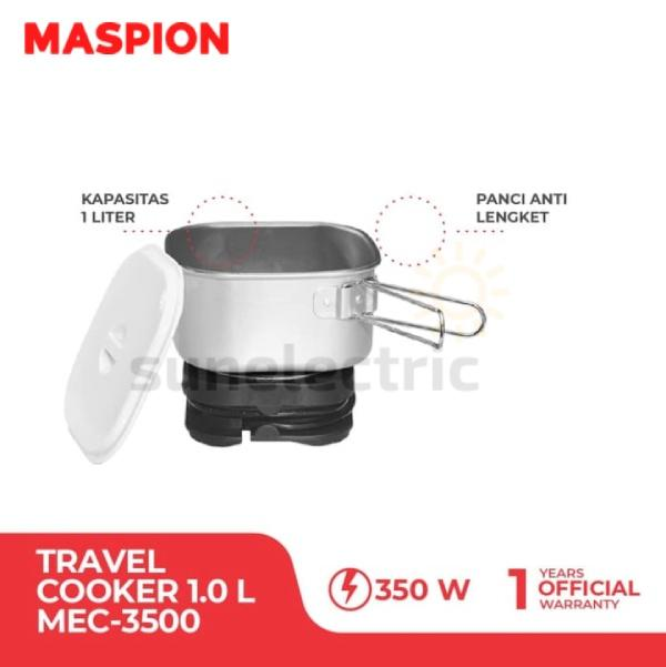 Maspion Mec-3500 Travel Cooker 1 L Dual Voltage 110 V / 220 V + Carrier Bag - Silver By Sun Electric.