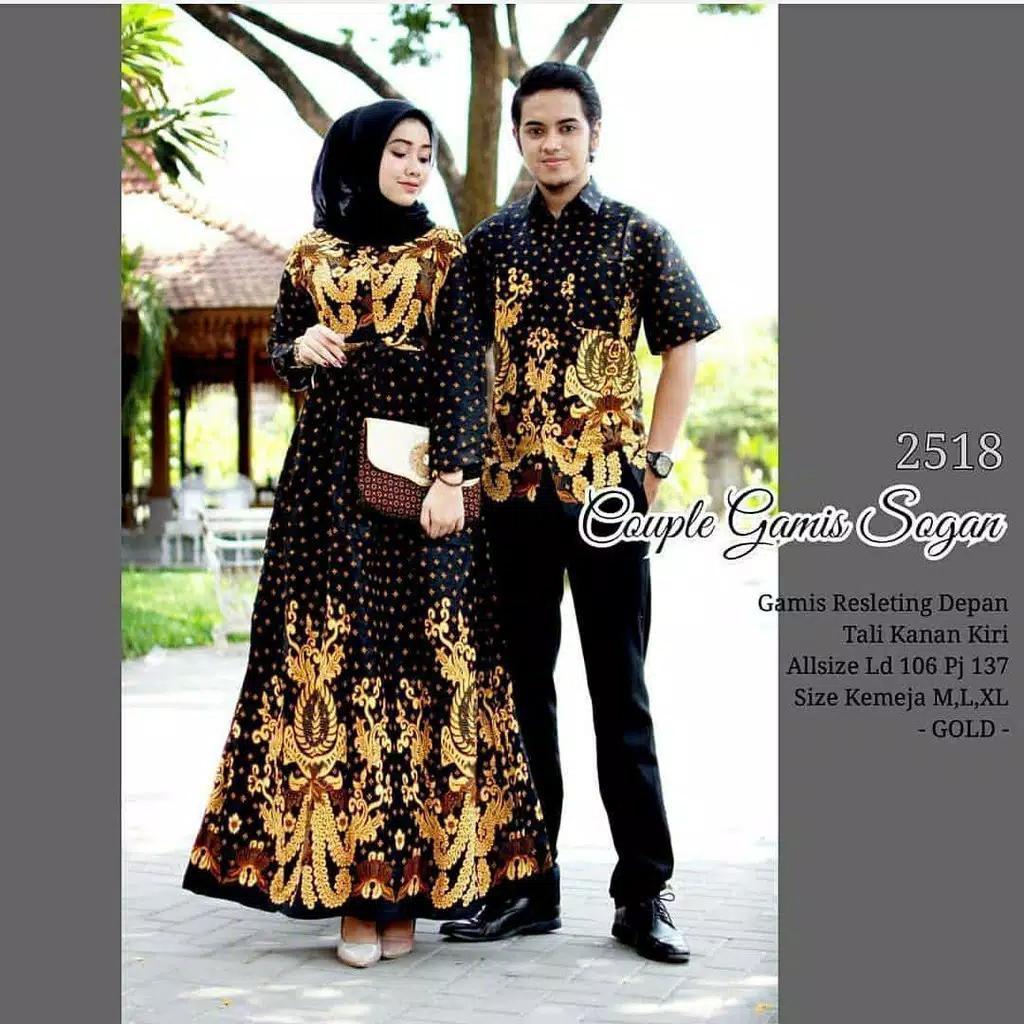 Jago Store Baju Gamis Batik Couple Modern Pasangan Murah Terbaru Couple Gamis Sogan 2518 Gold