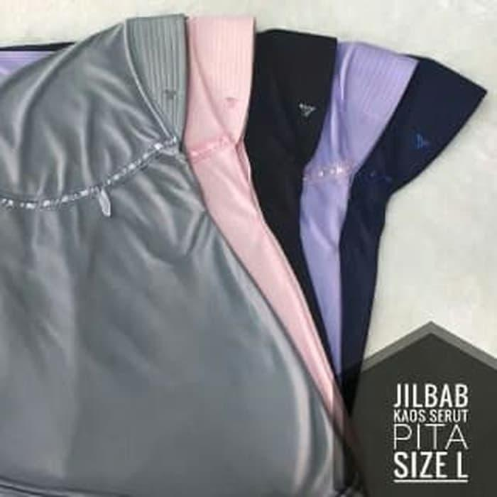 Khimar Simpel Pet Serut Pita Bahan Kaos Hijab Jilbab Kerudung Instan L