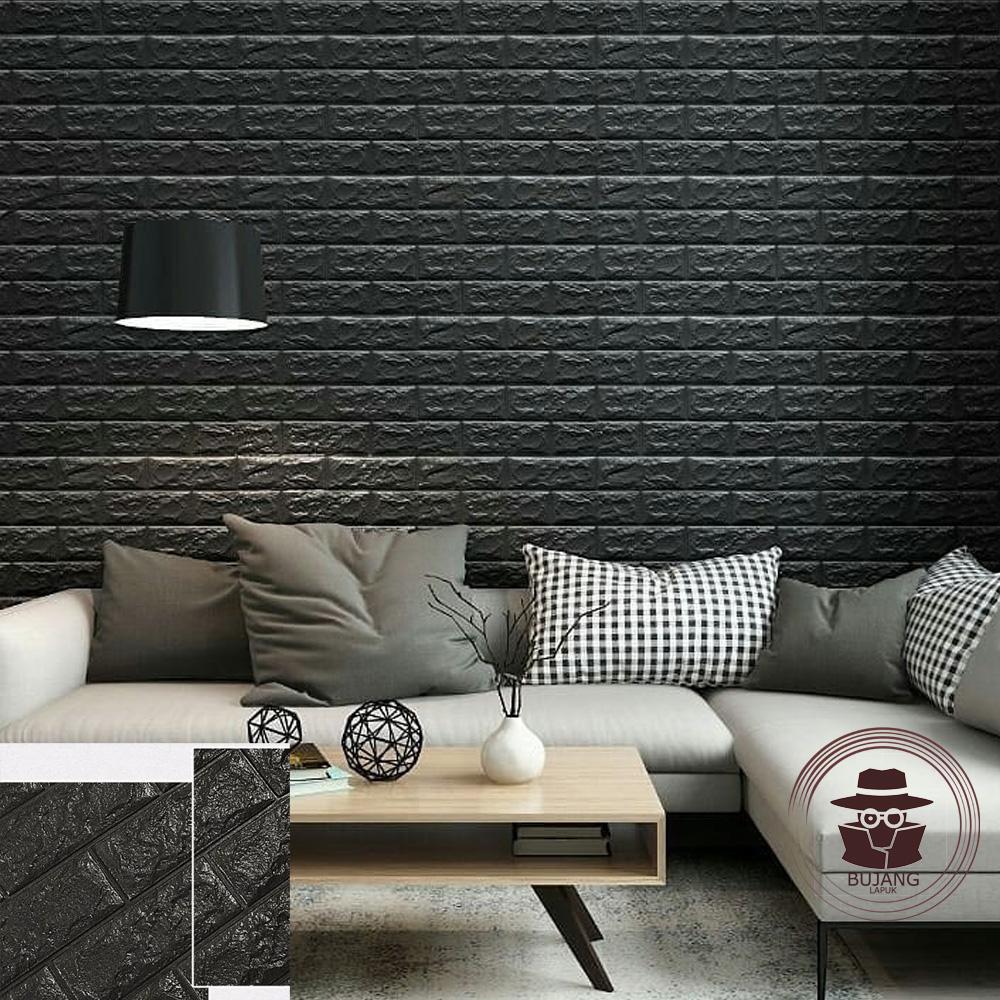 Bujang Lapuk Wallpaper Dinding Foam 3D Batu Bata Putih Size 70 X 77 cm - BJ038