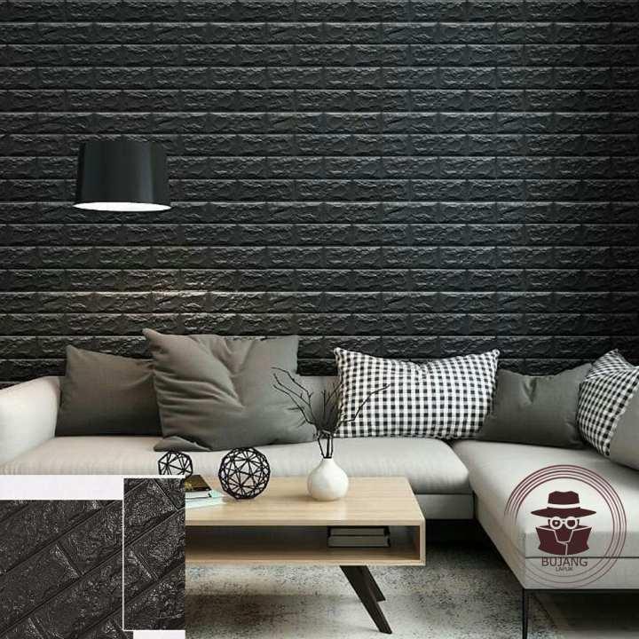 Bujang Lapuk Wallpaper Dinding Foam 3D Batu Bata Putih