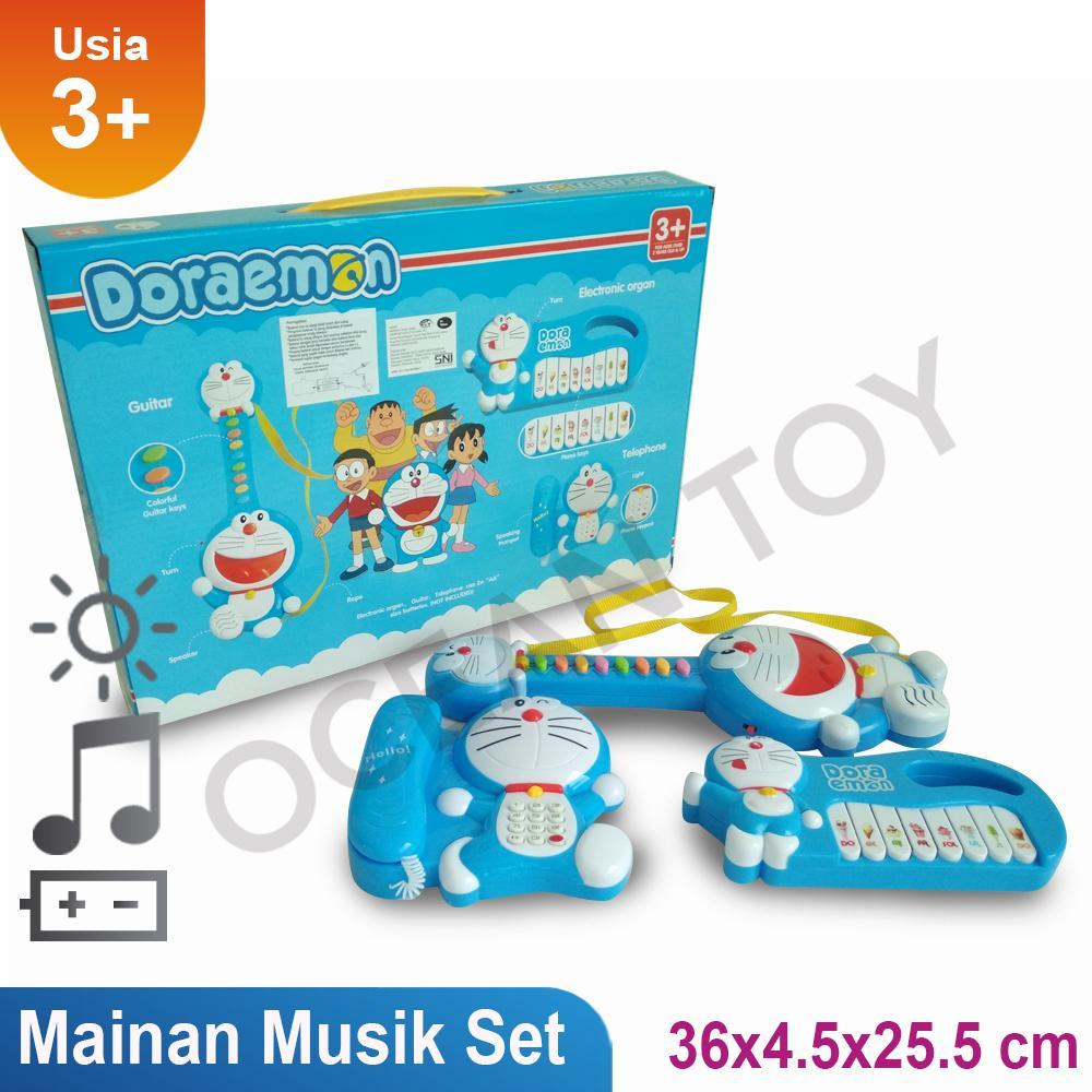 Mainan Anak Doraemon Musik Set / Mainan Edukasi Music Set Doraemon / Telepon Musik Doraemon Set / Piano Doraemon Set / Gitar Doraemon Set - 1232 By Ocean Toy.