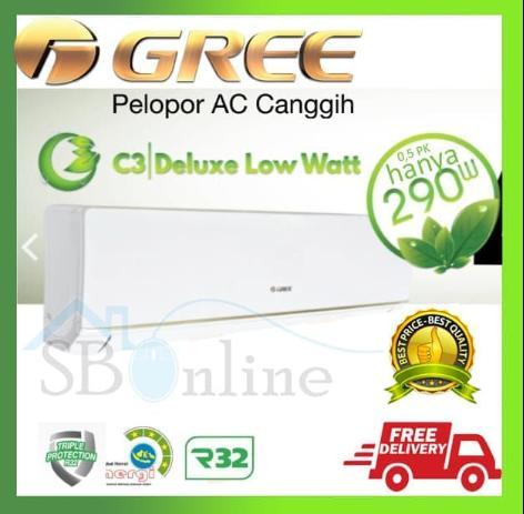 AC GREE DELUXE LOW WATT 1 PK 09C3E ORIGINAL HARGA PABRIK