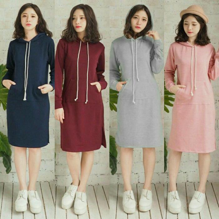 Labelledesign Women Spring Hoodie Maxi Dress Lady Korea Style Casual Slim Long Sleeve Hoodie Dresses VINNIE