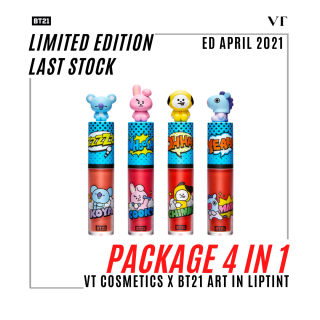 [PACKAGE 4 IN 1] VT COSMETICS X BT21 Art In Liptint ED APRIL 2021 [LIMITED EDITION LAST STOCK ] 1