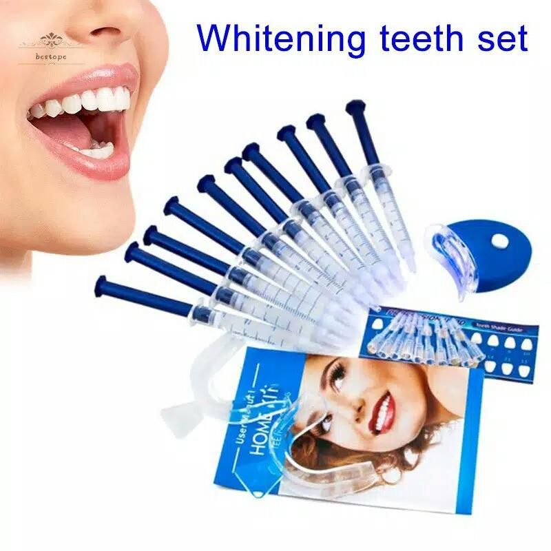 set 10pcs peralatan gel pemutih gigi dental teeth whitening bleaching gigi