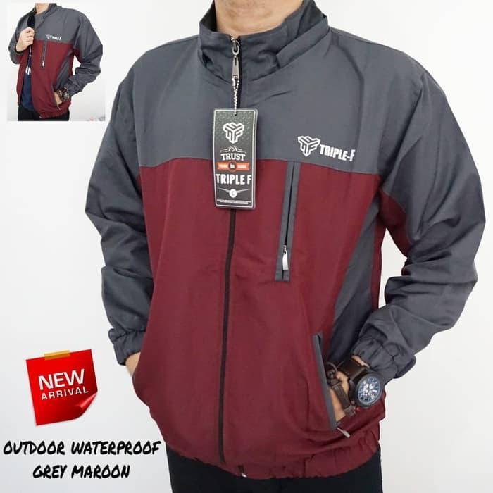 SilverStone1 - JAKET OUTDOOR WATERPROOF HOODIE BISA DILEPAS Maroon Grey - Jaket  Parasut - Jaket Anti 55318a67dd