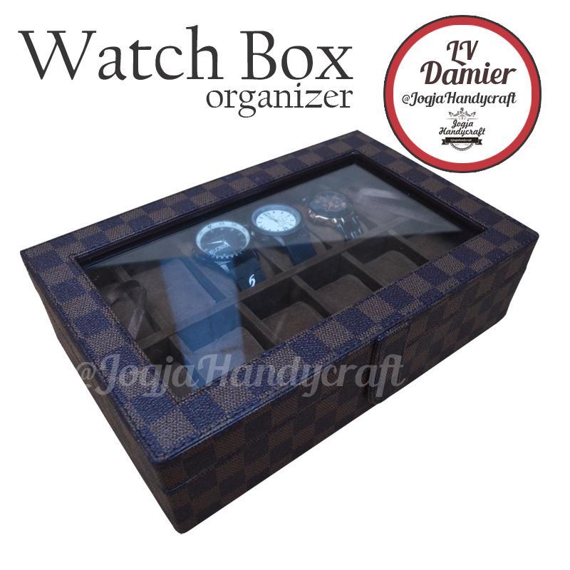 Jogja Craft Damier Watch Box / Tempat Jam / Kotak Jam Tangan Isi 12