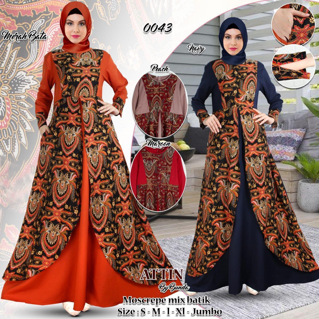 Gamis batik kombinasi moscrepe terbaru terlaris 9 cocok buat lebaran  pesta pernikahan