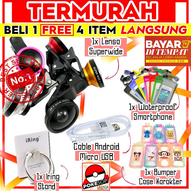 [promo Terbatas] Paket Hemat Pokeshop - Universal Clip Lens 0.4x Super Wide Selfie Camera Lens - Universal - Gratis Usb Micro Cable + Iring Stand Hp + Waterproof Universal Smartphone + Handsfree Mp3 Headset By Pokeshop.