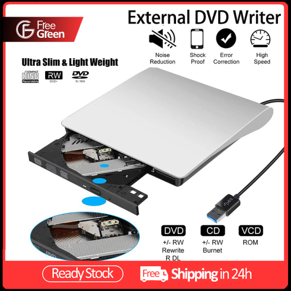 FreeGreen [External DVD Writer] USB 3.0 Portable CD/DVD+/-RW Drive/DVD Player for Laptop Laptop PC M AC CD ROM Burner Compatible on sale