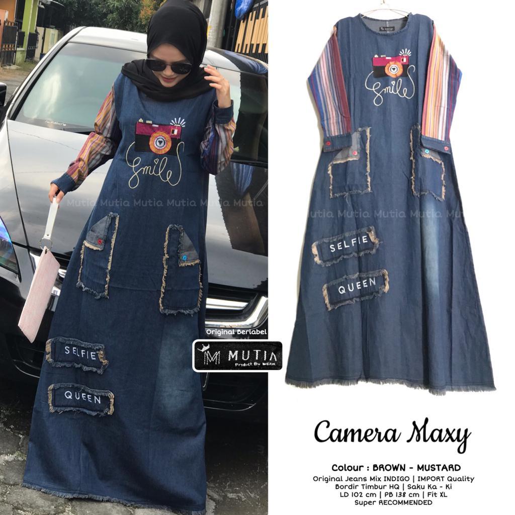 Baju muslim terbaru gamis kamera dress bahan jeans washd mix indigo (BISA COD)