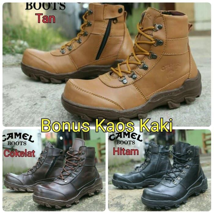 sepatu boots kulit asli kerja proyek outdoor tracking camel hitam brown tan  safety besi awet kuat 83650871e1