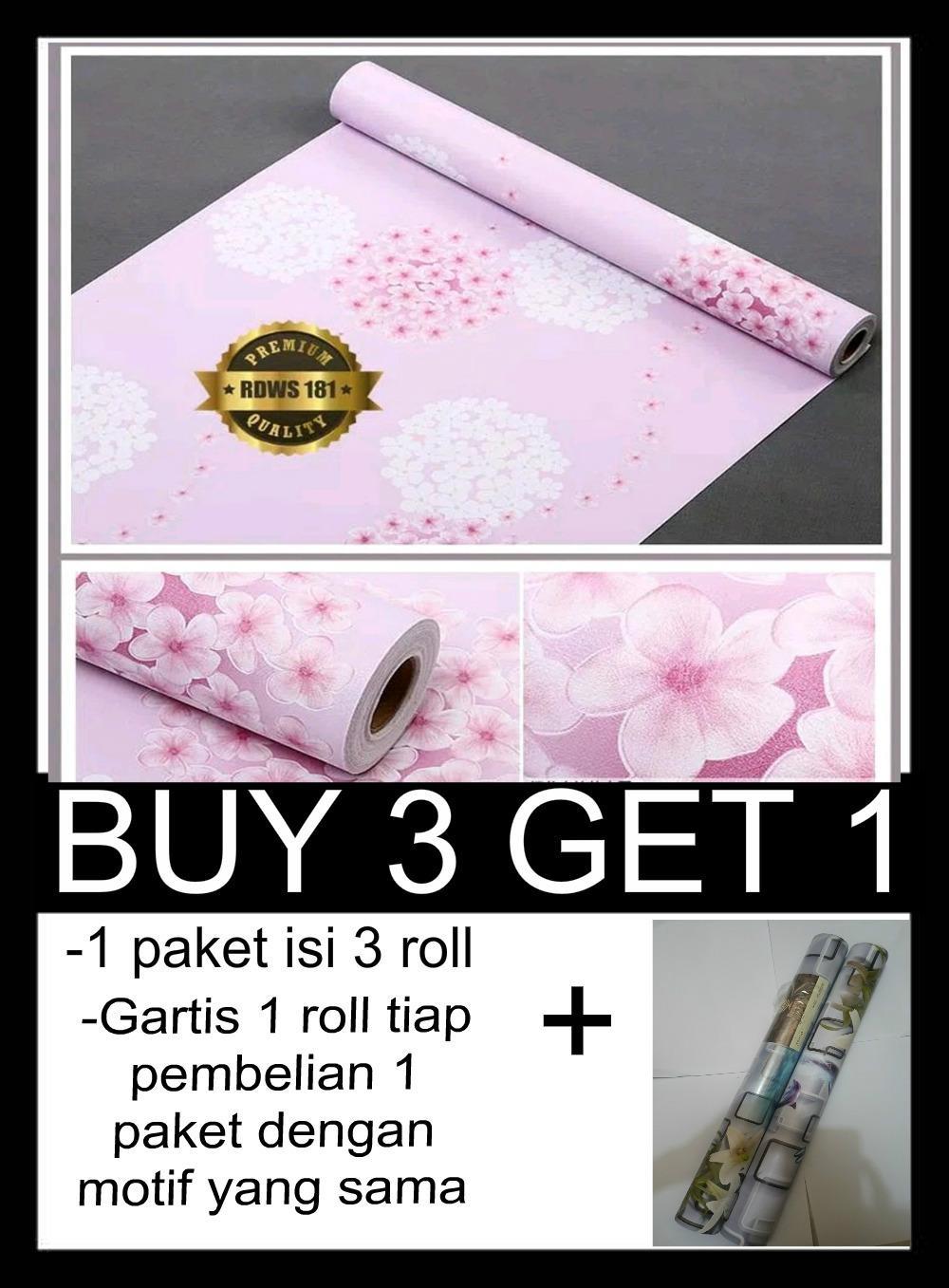 PROMO...!!! walpaper sticker dinding motif bunga 45cm x 10m BUY