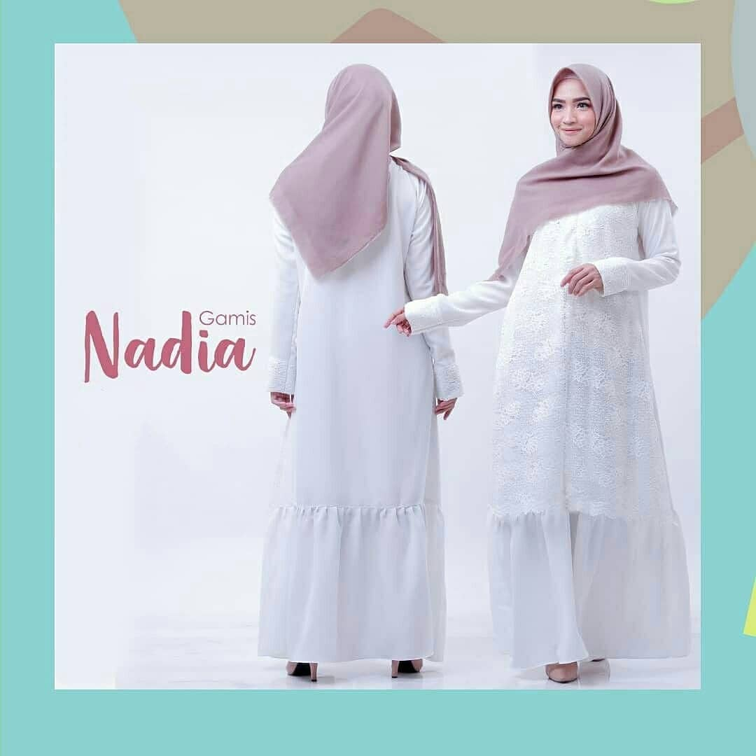 Nadia Gamis Couple ( FREE HIJAB KIDS ) / COD / Baju Couple Ibu Dan Anak /  Gamis Putih Anak / Gamis Putih Wanita / Baju Couple Murah / Baju Couple