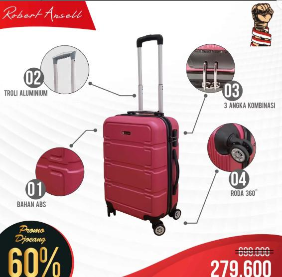 Polo Love Koper Hardcase Luggage 20 Inch 806-20 Koper Fiber Koper Kabin Koper Import Koper Baju Koper Travel Anti Theft Original - Pink