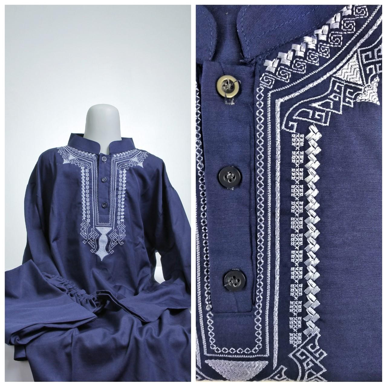 Baju KOKO ANAK Setelan Pakistan Celana Peci Usia Umur 5 6 7 8 9 10 Biru Tua Navy Busana Pakaian Muslim Lebaran